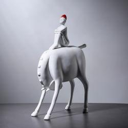 La decoración de los animales Caballo de resina de la decoración del hogar manualidades Art blanco y negro
