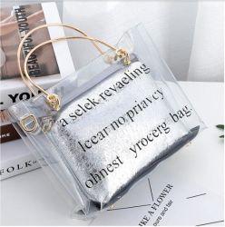 Sac fourre-tout transparente en PVC avec sac de PU intérieure et de poignées en métal