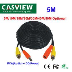 5m de la RCA (audio) + DC (corriente), Cable de 2 en 1 accesorios para cámaras de seguridad CCTV Cable con conector BNC y Audio