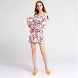 2019 Vestido de Guangzhou fábrica de ropa fuera de la Flora del hombro vestidos damas baratos dulce