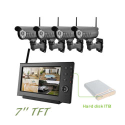 نظام أمان مع 4 أجهزة كمبيوتر كاميرا 4CH WiFi في الأماكن المغلقة نظام الأمان اللاسلكي كاميرا CCTV مع مسجل الفيديو الرقمي (DVR)