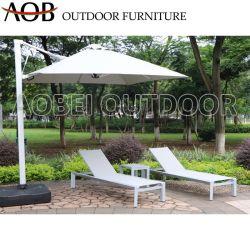 Patio Jardin extérieur moderne Accueil Resort Textilene chaise de plage bain de soleil lit de repos transats avec parapluie de meubles