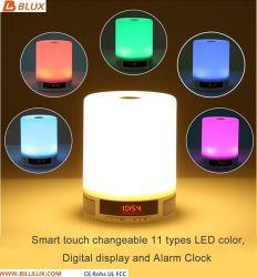 Toque em luz LED Bluetooth portátil Alto-falante sem som estéreo Bass Despertador TF Aux Player de música a luz da tabela I800