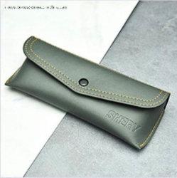 Bespoke e couro genuíno personalizado caso de óculos com botão de encerramento