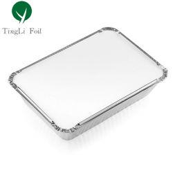 Contenitore rettangolare da 1 l in alluminio per alimenti con coperchio
