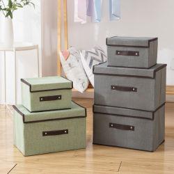 Plegar la ropa de imitación Non-Woven Caja de almacenamiento de tejido con cubierta de polvo, la caja de almacenamiento Portable Caja de almacenamiento de artículos