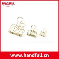 Clip de metal el cuaderno de papel personalizados de diferente tamaño de alambre de resorte metálico impresión Gold Binder clips de papel