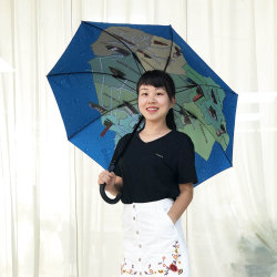 إطار مقاوم للرياح السير على مظلة المدينة المستقيمة، مظلة مطبوعة مخصصة ترويجية