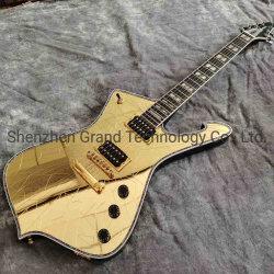Bianco su ordinazione dell'uomo del ghiaccio della chitarra del Paul dello specchio della crepa dell'oro che lega gli strumenti musicali della chitarra elettrica