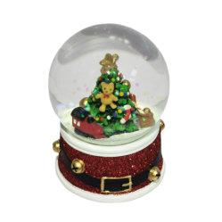 تذكار مخصص لعيد الميلاد الزجاج رسن سنو غلوب مع مصباح الموسيقى كرة الماء الخفيفة