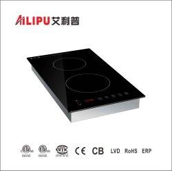 Fresa verticale incorporata del cooktop di induzione dei CB ETL 3000/1800W del CE di zona di uso 2 Househould/della cucina