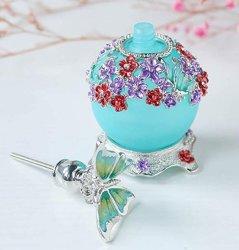 Fancy Retro azul mate restauración de la Botella de Perfume de vidrio con tapón de la mariposa rellenables vacía