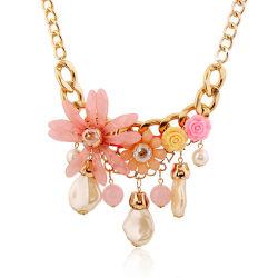Flores de Rhinestones Pearl Abalorio Acrílico Collar de joyas de señoras