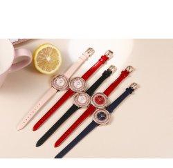 여성용 스켈레톤 자동 기계식 손목 시계 골드 디자인 캐주얼 패션 가죽 Esg17681