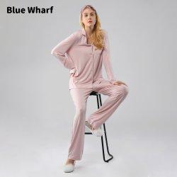 وصول جديد شعار خاص من نوع SleepWear خاص بالمصنع الأصلي للمعدة بالكامل قطعتان من قطع Loungewear مجموعة Viscose Pajama للنساء