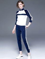 Frauen Mode Strick Gestreift Kreuz - Farbe Patchwork Strickanzug Bekleidung