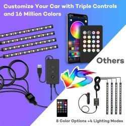 4pcs 48LED RGB en voiture de l'atmosphère intérieure Bande lumineuse Bar Bluetooth Contrôle de la musique de l'APP pour la décoration de Noël La lumière