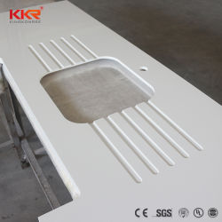 Cozinha, casa de banho em mármore branco da superfície sólida na bancada