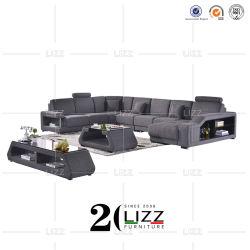 Gewebe-/des echten Leder-U Form-Schnitteckfreizeit-Sofa