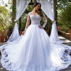 최신 판매 투명한 백색 긴 소매 결혼 예복 신부 드레스