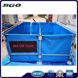 tela incatramata del PVC 5000L con il serbatoio di acqua bevente mobile Fordable dello stagno di pesci del blocco per grafici del metallo
