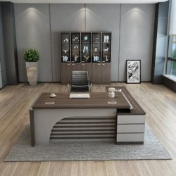 Venda a quente China MDF Fábrica Escritório Executivo de madeira em forma de L de turismo