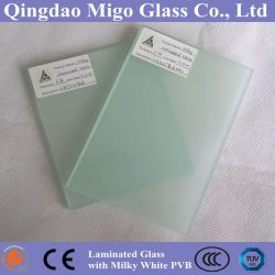 Panneau de verre feuilleté transparent avec blanc laiteux film PVB