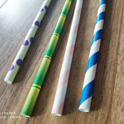 Pajitas de papel biodegradable Eco Fancy pajitas de papel rayas