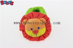 Soft Short Plush Stuffed Lion Toy Baby Indoor Shoes with Rattle
