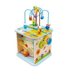 Деревянные деятельности играют Cube деревянные обучения головоломки игрушки для малышей, 5-сторонняя деятельности Центра с друзьями животных, формы, лабиринтов, деревянные шары, форма сортировщика блоки