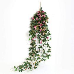 人工の吊り下げの植物ローズ Vine 5FT 大きい擬似花 Greeny チェンウォールホームルームガーデンウェディング室内屋外用装飾品(ピンク)