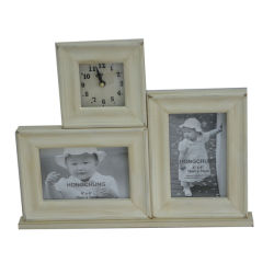Home Deco를 위한 Clock를 가진 나무로 되는 Picture Frame