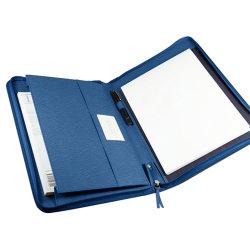 Portafoglio su ordinazione del cuoio di formato di marchio A4 con la casella ed il dispositivo di piegatura di archivio delle scanalature di affari