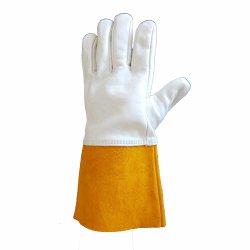 Branca e laranja luvas de trabalho dividido Vaca Prémio de couro luvas de solda