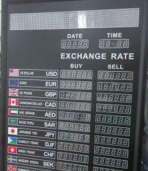Signo de la pantalla LED tipo de cambio y tipo de cambio de LED panel de visualización