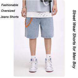 Personalizar el verano de alta calidad 100% Algodón Jeans logotipo impreso extra lavado pantalones cortos para los hombres vestían ropas de desgaste de la calle a diario
