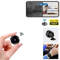Мини-камера Wireless WiFi камеры в ночное время 1080P предупреждения обнаружения движения с сотового телефона приложение, с запястным ремешком, подставку и 2 зарядное устройство USB кабели, 2 кнопки Двусторонняя