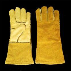 Fodera completa in fibra di 14 cm EN388 En407 saldatore a mano in pelle di vacchetta divisa Guanti per saldatura in pelle TIG