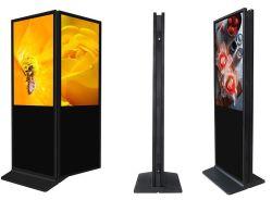 تخفيضات ساخنة على حامل أرضية بحجم 43 بوصة مزدوج الجوانب Digital Signage شاشة عرض الإعلانات LCD كشك شاشة لمس مزدوج