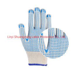 면에 의하여 뜨개질을 한 안전 장갑이 Linyi 파란 PVC에 의하여 점을 찍었다