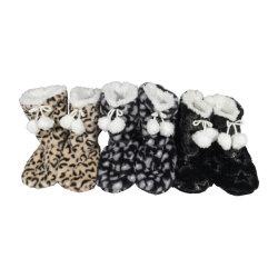 Ladies' Cashmere de boot avec doublure en fausse fourrure et pompons/chaussures/Indoor chaussures/chaussures tricotés/Knitting/maille/textile
