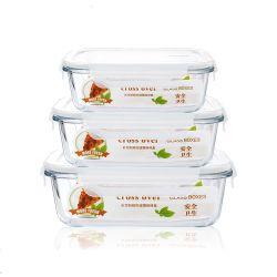 Los contenedores de vidrio para almacenamiento de alimentos de preparación de comidas de vidrio reutilizable Caja de seguridad Microondas Contenedores Contenedores de comida de la FDA con Smart Snap estancos