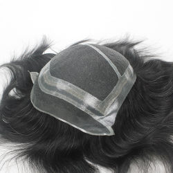 Monocromático de Alta Qualidade artesanal Lace & pele masculina Base Hairtoupee Perucas
