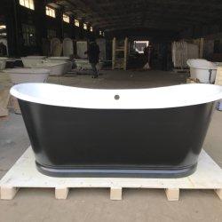 Vernice smaltata indipendente della vasca da bagno del ghisa dell'annata della STAZIONE TERMALE del rifornimento della fabbrica per la stanza da bagno in vernice nera con overflow