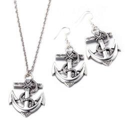 Venta caliente de la moda de aleación de zinc forma de ancla de barco juegos de joyería collares y aretes