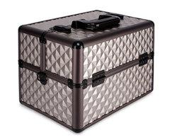 Textura de diamantes Pattern 6 bandejas extensibles aluminio maquilladora profesional de almacenamiento de cosméticos de llevar el tren de viajes Caja + correa para hombro