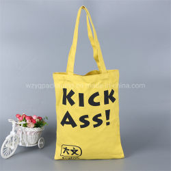 Commerce de gros de la mode en toile de coton biodégradable cadeau fourre-tout un sac de shopping avec poignée longue