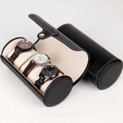 Pressione o botão Estilo único PU couro preto 3 slots de forma cilíndrica Assista a caixa, vigilância de alta qualidade para relógios