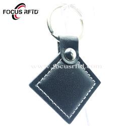 Negro Llavero RFID de forma personalizada con material de cuero