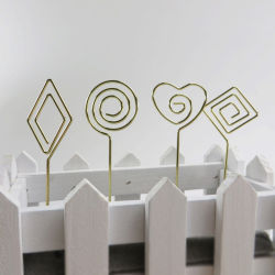 DIY befestigt goldene silberne MetallParper Namenskarten-Klipp-Anmerkung Halter